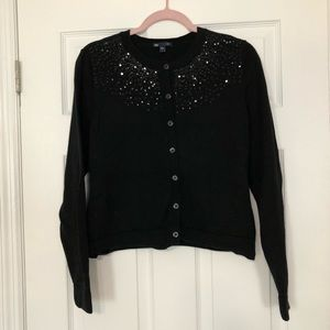 GAP black button-up cardigan with sequins large